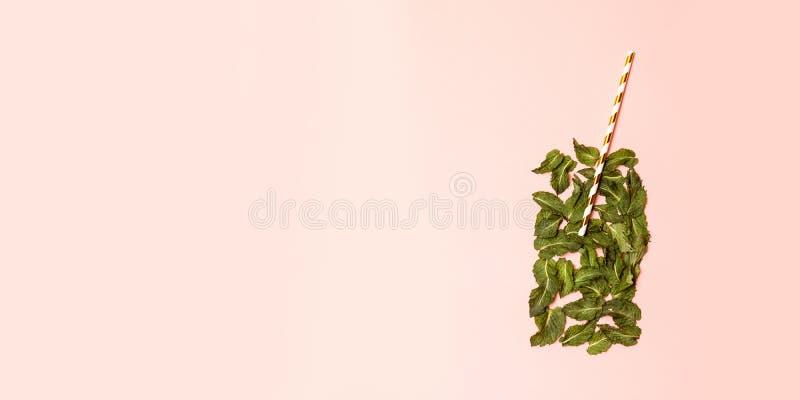 Ein Glas Saft von den tadellosen Blättern und vom Stroh auf einem hellrosa Hintergrund Eingebildetes Getränkkonzept stockfoto