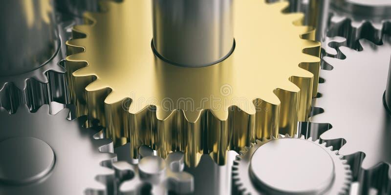 Ein goldener Gang auf silbernem Zahnradhintergrund Abbildung 3D lizenzfreie abbildung