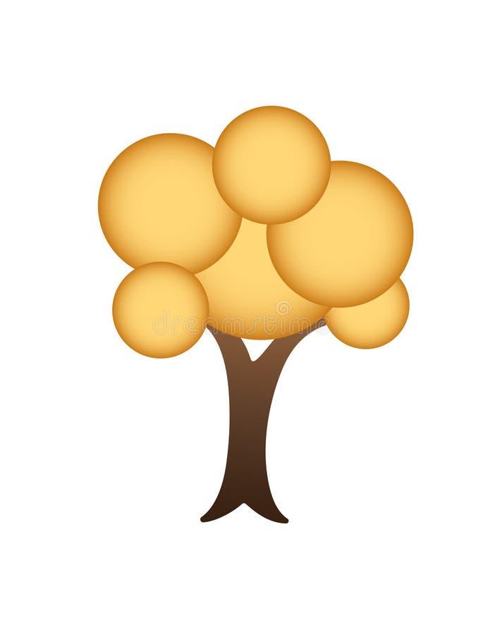 Ein goldenes Baumlogo mit Kreisformvektor stock abbildung