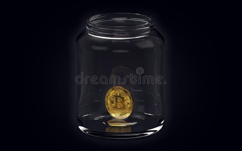 Ein goldenes bitcoin in einem Glas auf schwarzem Hintergrund Haltenes und Wartekonzept Wiedergabe 3d stock abbildung