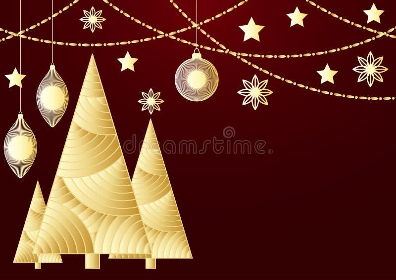 Ein goldenes Papier schnitt Weihnachtsbaum, Sterne, Bälle auf dem roten Hintergrund Kreative Vektorkarte, vector festliches Karne vektor abbildung