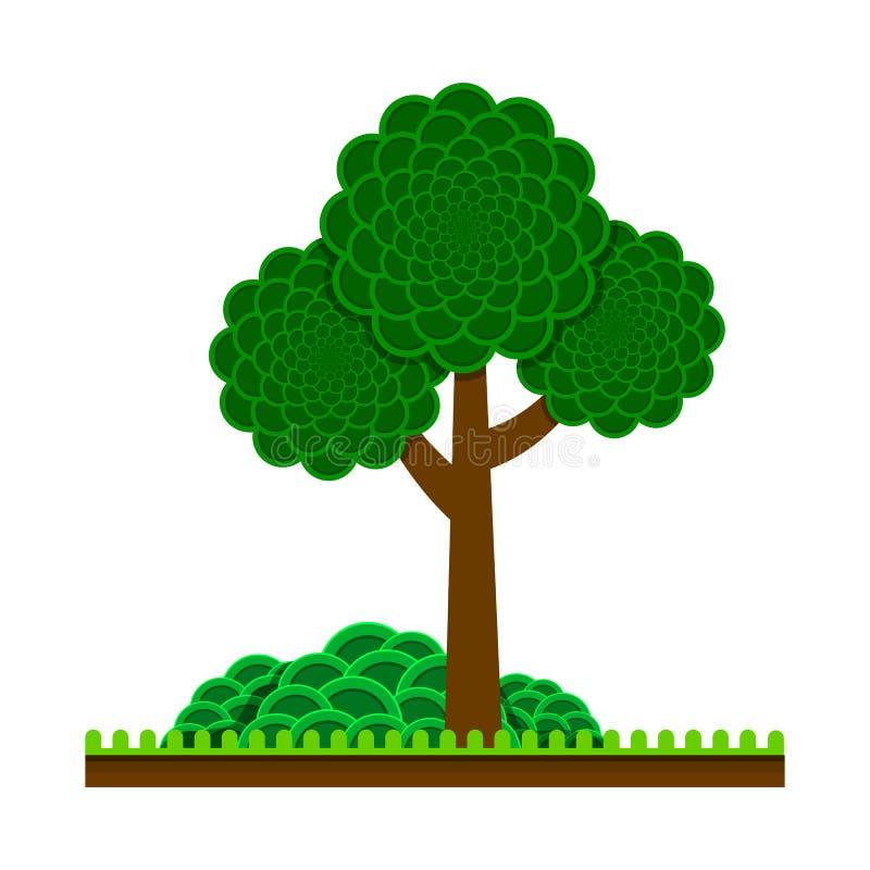 Ein grüner Baum mit einer üppigen Krone, einem Gras und einem Busch nave Platz, zum der Karikatur, flache Art stillzustehen Vekto lizenzfreie abbildung