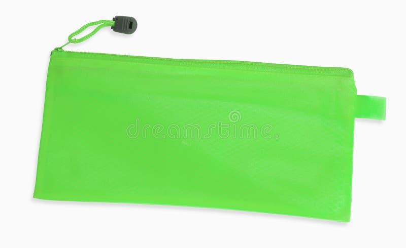 Ein grüner Bleistiftkasten lokalisiert auf weißem Hintergrund stockfotografie
