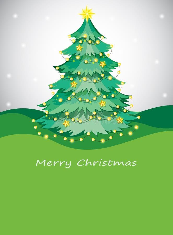 Ein grüner Weihnachtsbaum mit funkelnder Reihe beleuchtet stock abbildung