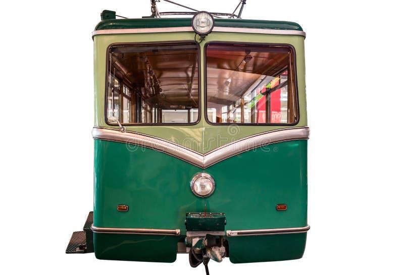 Ein gr?nes Zahnradbahnauto lokalisiert auf einem wei?en Hintergrund mit einem Beschneidungspfad stockfoto