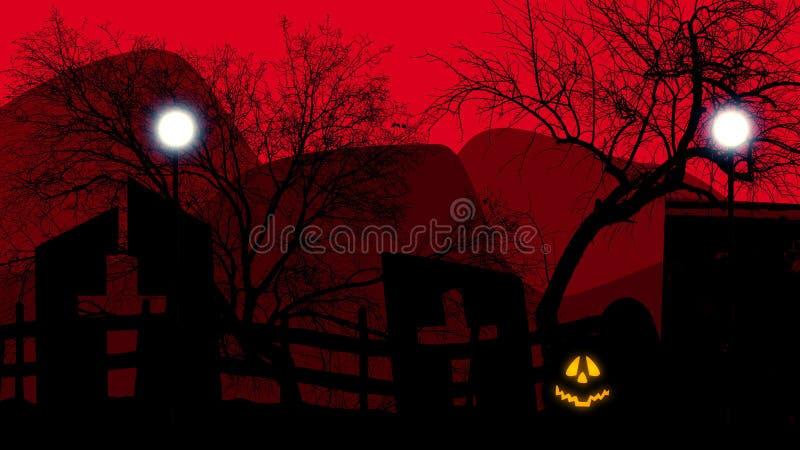 Ein grimmiger Minireaper, der eine Sense anhält, steht auf einem Kalendertag, der glückliches Halloween sagt stock abbildung