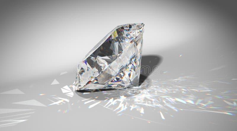 Ein großer Diamant mit Scheinen stock abbildung