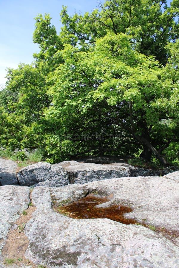 Ein großer Felsen in Szentbekalla stockbild