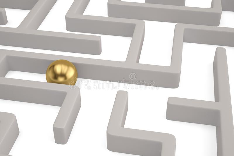 Ein großer Goldbereich innerhalb eines weißen Labyrinths Abbildung 3D lizenzfreie abbildung