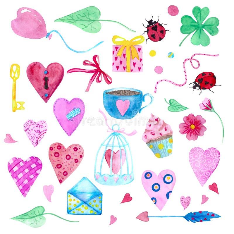 Ein großer Satz Aquarellelemente für Valentinstag oder Hochzeitstag Blumen, Pfeil, Umschlag, Ballon, Herz, Schale und andere vektor abbildung