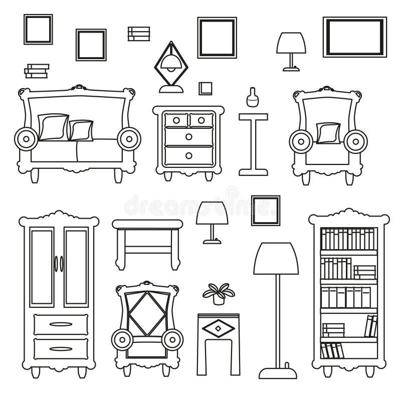 Ein großer Satz Möbel für das Wohnzimmer, von einer Sammlung vektor abbildung