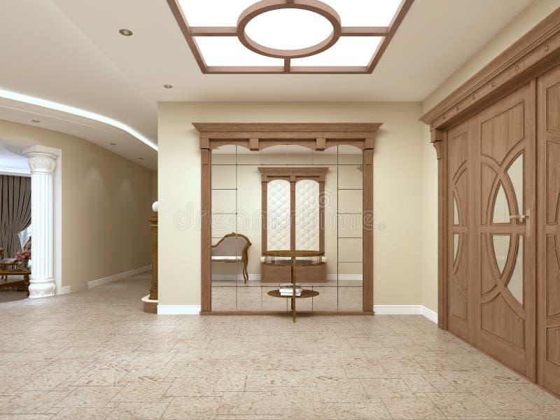 Ein großer Spiegel mit einer Tabelle für Schlüssel im Foyer eines luxuriösen Innenraums lizenzfreie abbildung