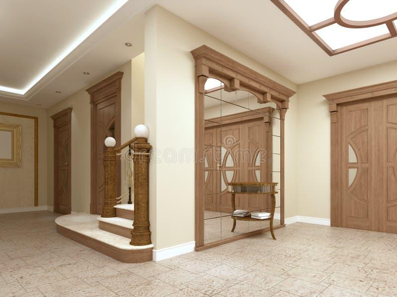 Ein großer Spiegel mit einer Tabelle für Schlüssel im Foyer eines luxuriösen Innenraums stock abbildung