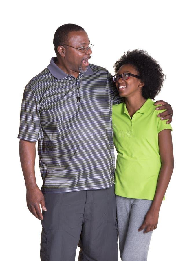 Opa mit seiner Enkelin stockbild. Bild von grau, hilfe