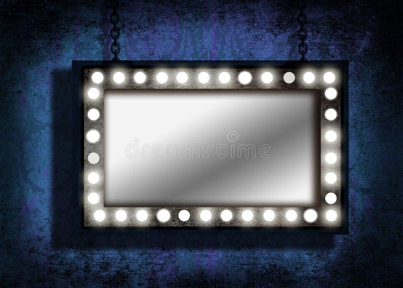 Ein grungy Spiegel mit Festzeltleuchten lizenzfreie stockbilder