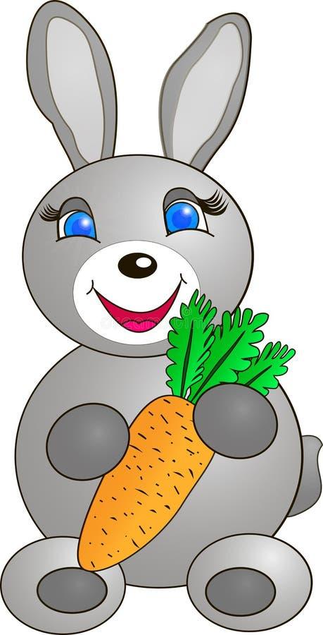 Ein Häschen mit einer Karotte stockfotos