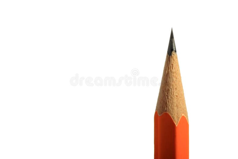 Ein hölzerner scharfer Bleistift mit einem Radiergummi Lokalisiert auf Weiß stockbilder