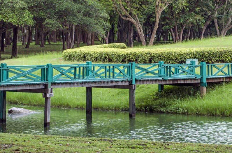 Ein hölzerner Steg über einem Bach im Park lizenzfreie stockfotos