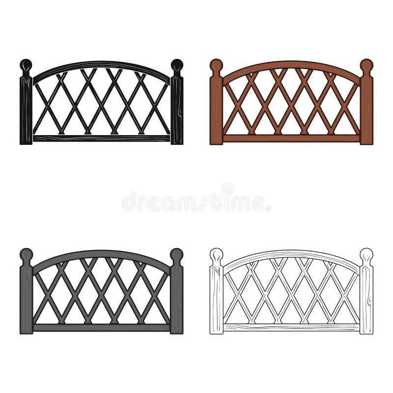Ein hölzerner Zaun Eine einzelne Ikone des unterschiedlichen Zauns im Karikaturartvektorsymbolvorrat-Illustrationsnetz vektor abbildung