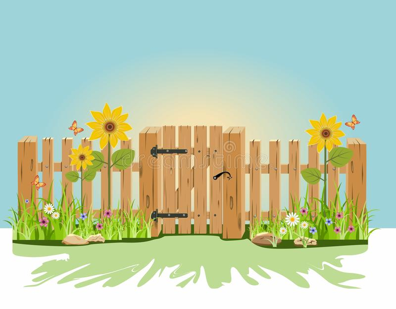 Ein hölzernes Tor und ein Zaun lizenzfreie abbildung
