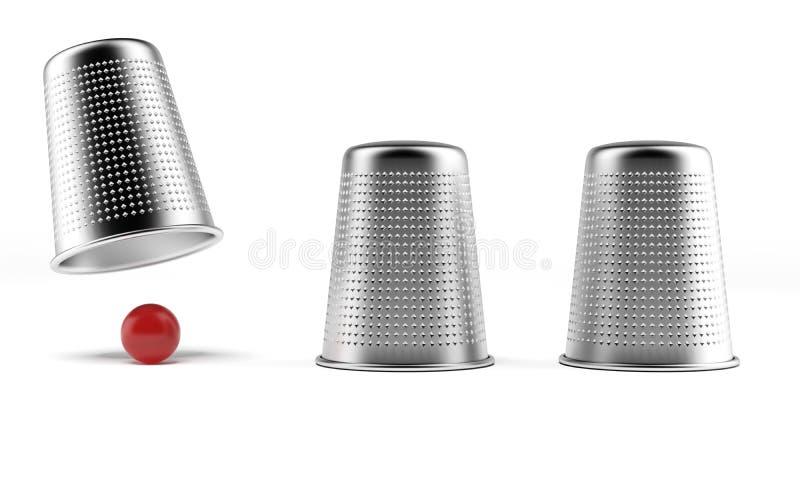 Ein Hütchenspiel: drei Muffen und ein Ball lizenzfreie abbildung