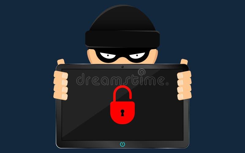 Ein Hacker und ein Gauner halten eine defekte Tablette in ihren Händen Ein ernstes Problem, der Verlust von Daten Flache Art vektor abbildung
