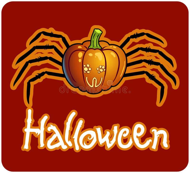Ein Halloween-Kürbis mit den Fahrwerkbeinen der Spinne lizenzfreie abbildung