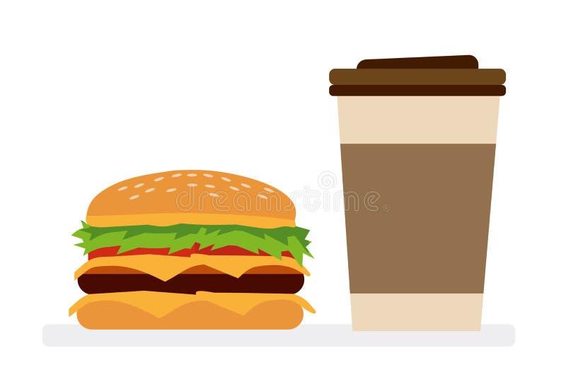 Ein Hamburger und ein Kaffee Pommes-Frites, Burger- und Ketschupherz Weißer Hintergrund Flache Designillustration der Vektorkarik stock abbildung