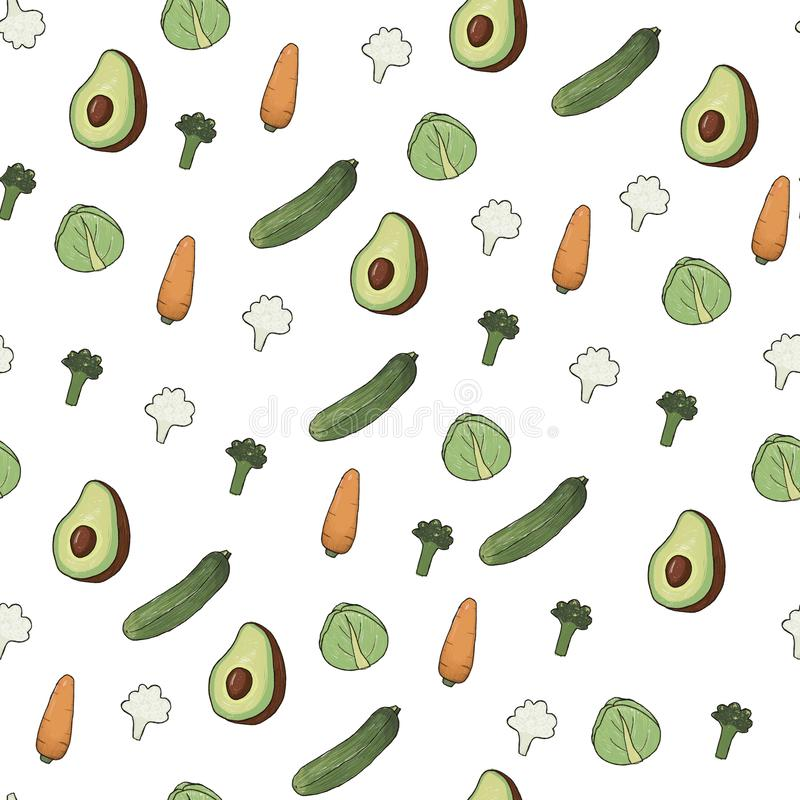 Ein Handgezogenes nahtloses Muster mit Gemüse vektor abbildung