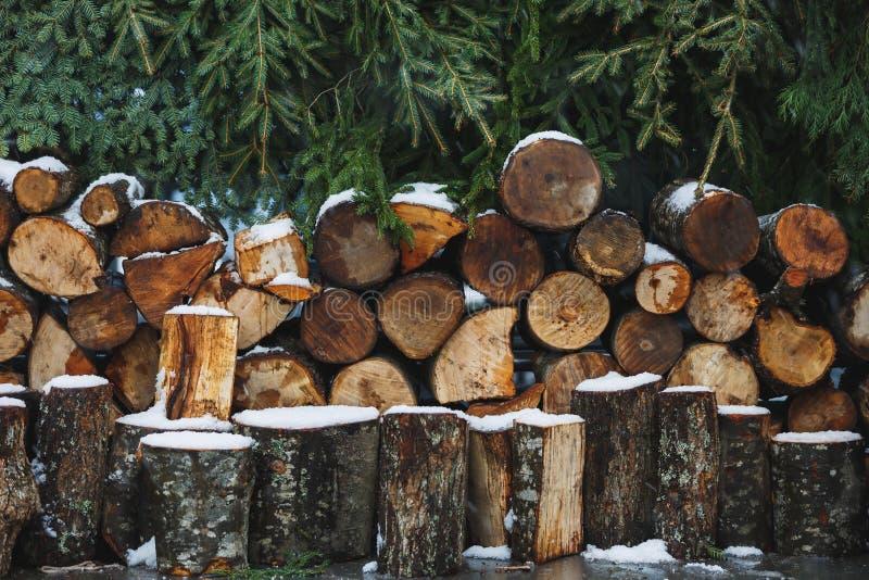Ein Haufen frisch geschnittenem Holz auf dem Boden des Schneefeldes lizenzfreies stockbild
