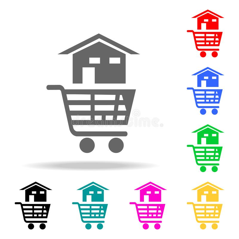 ein Haus in einem Warenkorb von der Speicherikone Elemente von Immobilien in den multi farbigen Ikonen Erstklassige Qualitätsgraf stock abbildung