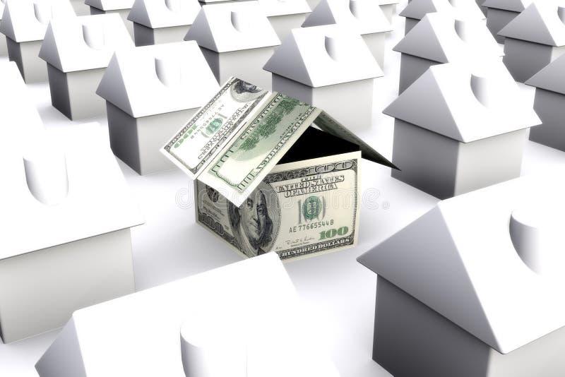 Ein Haus gemacht von den Gelddollar, umgeben durch Weiß lizenzfreie abbildung