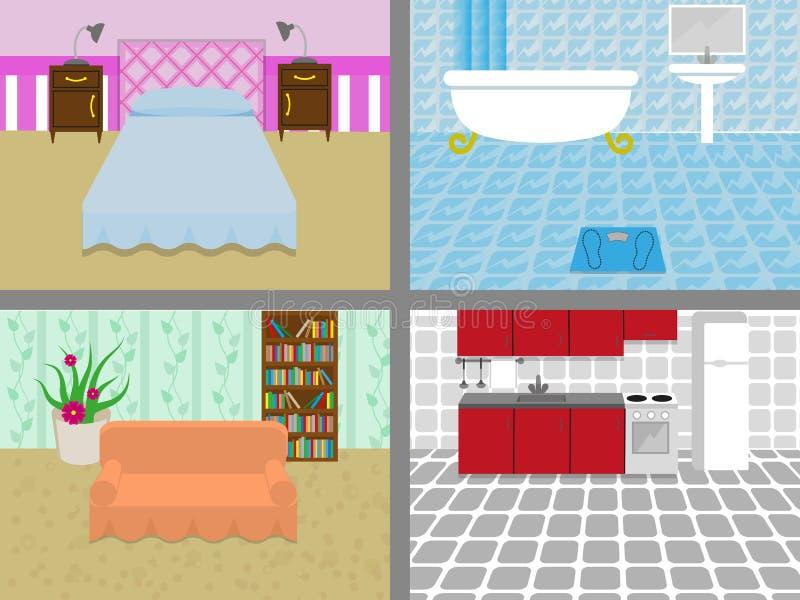 Ein Haus mit Räumen stock abbildung