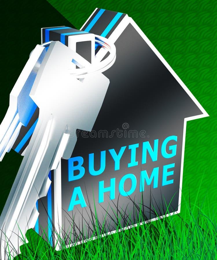 Ein Haus zu kaufen bedeutet Wiedergabe Real Estates 3d lizenzfreie stockbilder