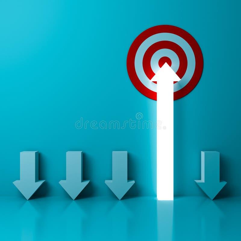 Ein heller Pfeil, der zum Zielziel oder zur roten Dartscheibe das Geschäftskonzept über hellgrünem Pastellfarbhintergrund zielt lizenzfreie abbildung