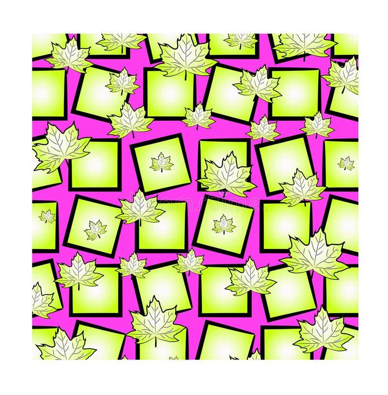 Ein helles lustiges Muster: chaotisch zerstreute Ahornblätter und Quadrate von hellgrünem auf rosa Hintergrund stock abbildung