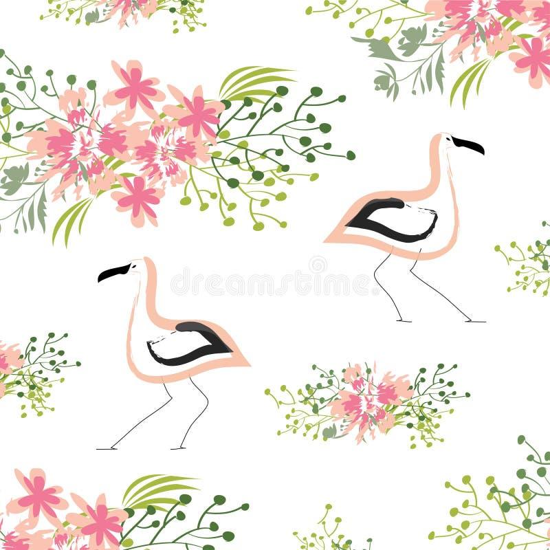 Ein helles Muster mit rosa V?geln und tropischen Bl?ttern stock abbildung