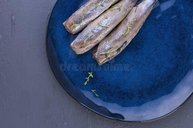 Ein Heringsfilet auf einer blauen Platte, eine traditionelle niederländische Zartheit Köstliche Meeresfrüchtemahlzeit Kopieren Si lizenzfreies stockbild