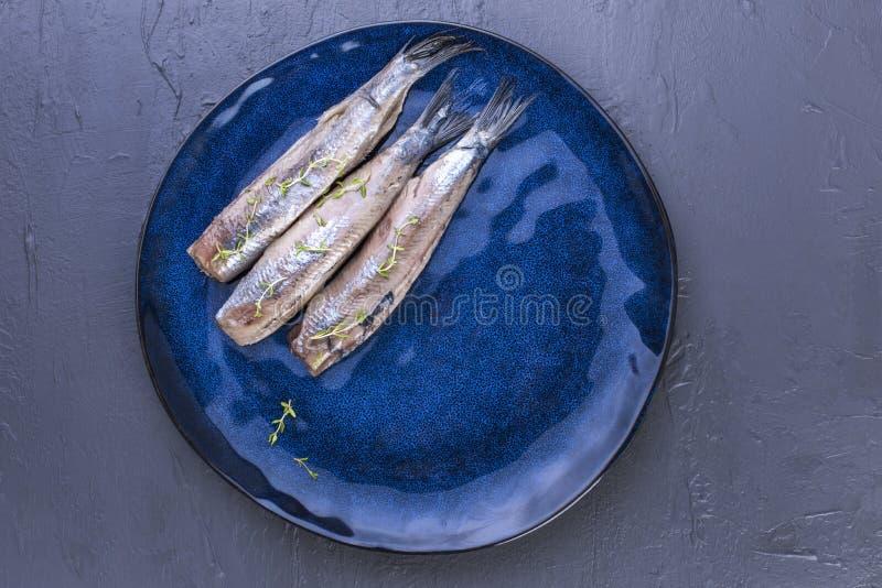 Ein Heringsfilet auf einer blauen Platte, eine traditionelle niederländische Zartheit Köstliche Meeresfrüchtemahlzeit Kopieren Si lizenzfreie stockbilder