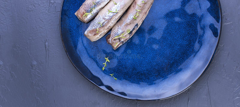 Ein Heringsfilet auf einer blauen Platte, eine traditionelle niederländische Zartheit Köstliche Meeresfrüchtemahlzeit Kopieren Si stockfotografie