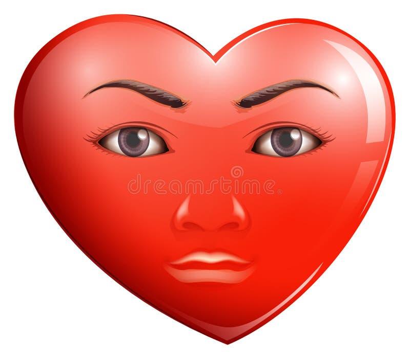 Ein Herz mit einem Gesicht lizenzfreie abbildung