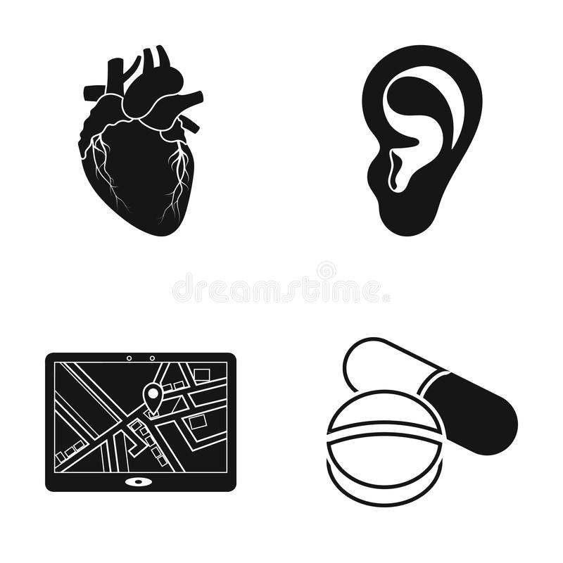 Ein Herz, Ohr und andere Netzikone in der schwarzen Art Standort, Tablettenikonen in der Satzsammlung lizenzfreie abbildung