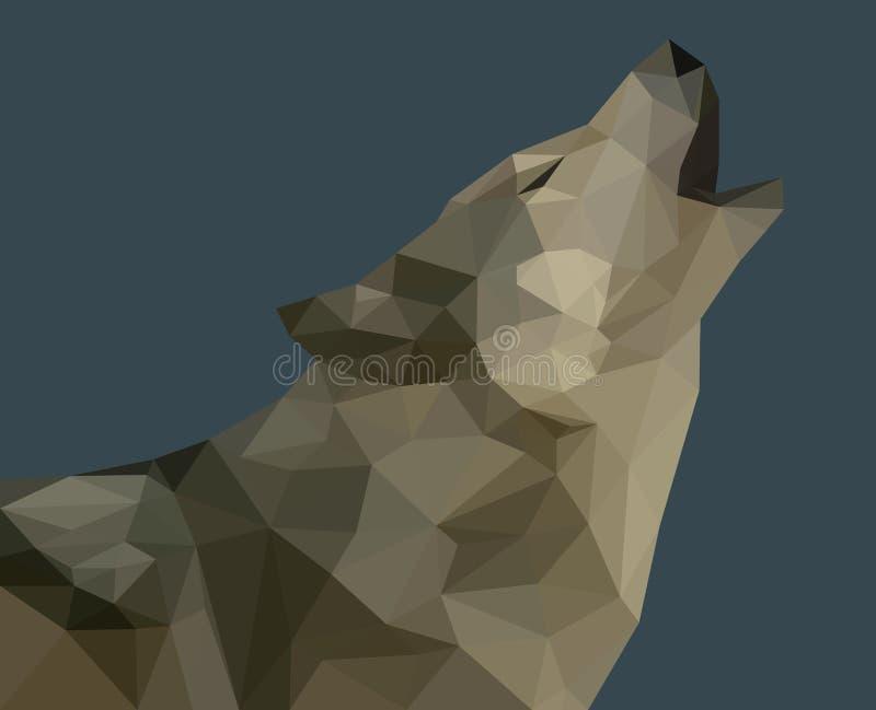 Ein Heulenwolf gebildet von den Dreiecken vektor abbildung