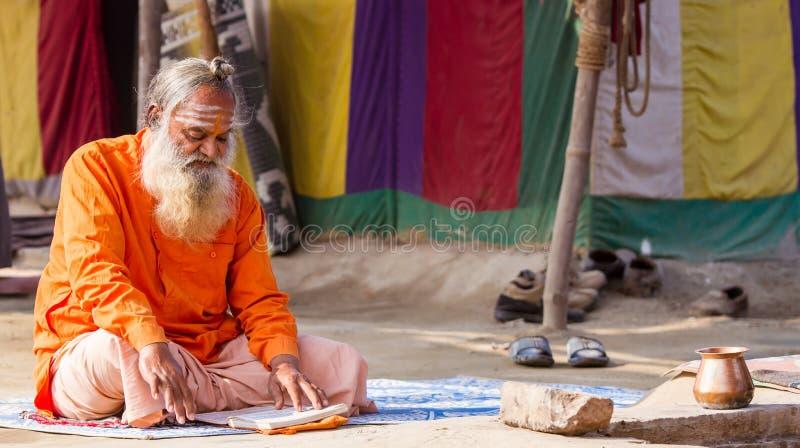 Ein hindischer Priester beim Kumbha Mela in Indien stockfotos