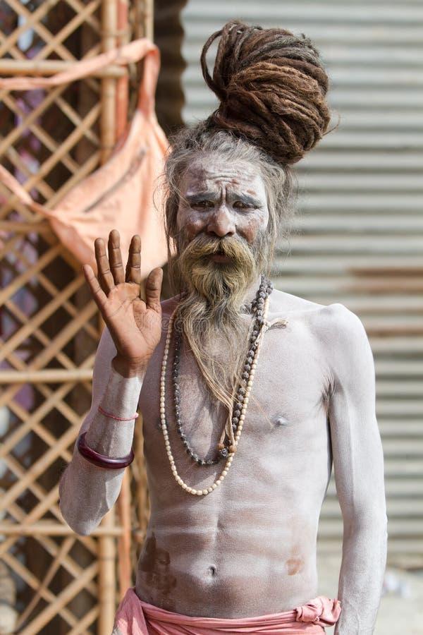 Ein hindischer Priester beim Kumbha Mela in Indien stockfoto