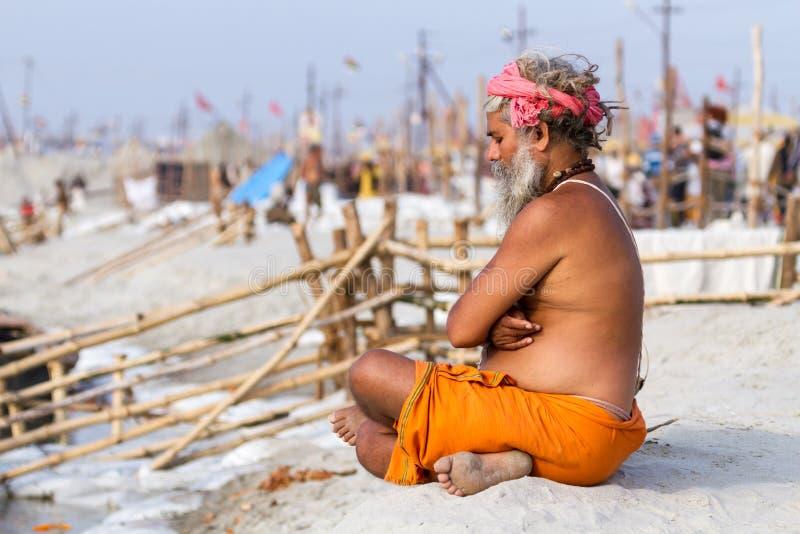 Ein hindisches Sadhu beim Kumbha Mela, Indien lizenzfreie stockfotos