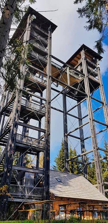 ein hoher Turm gemacht vom Holz stockbild