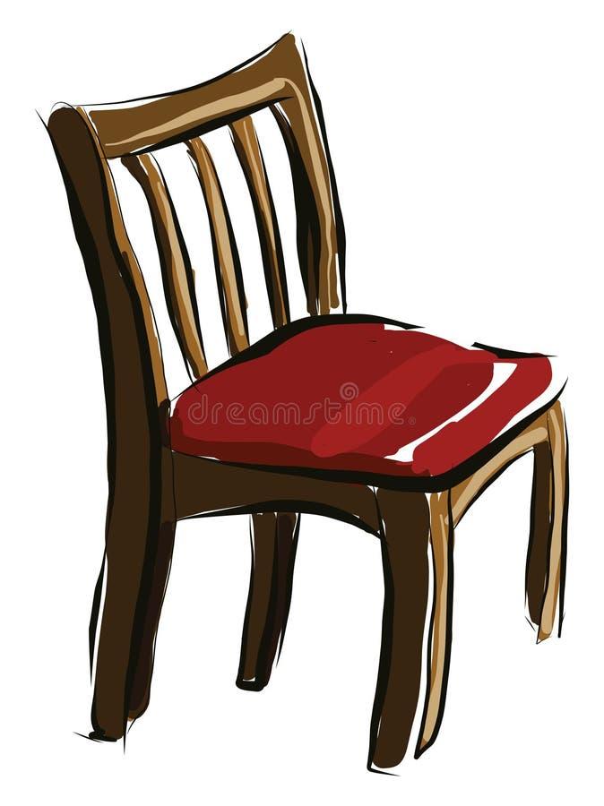Ein Holzstuhl mit rotem Sitz, Vektorgrafik oder Farbillustrierung stock abbildung