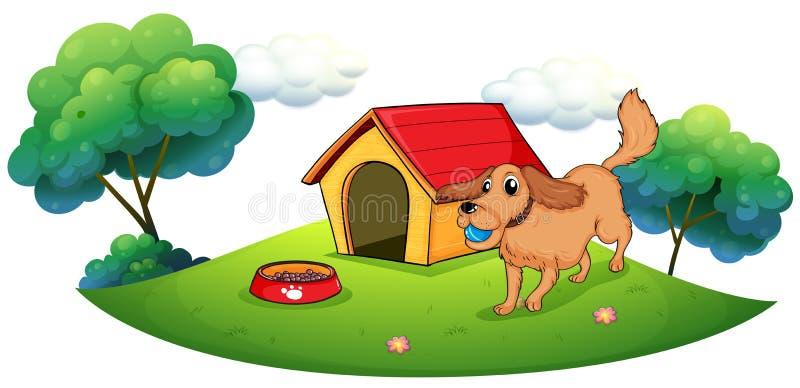 Ein Hund, der mit einem blauen Ball nahe einer Hundehütte spielt lizenzfreie abbildung