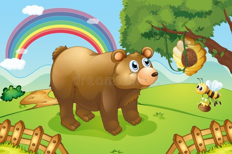 Ein hungriger Bär, der den Bienenstock aufpasst lizenzfreie abbildung